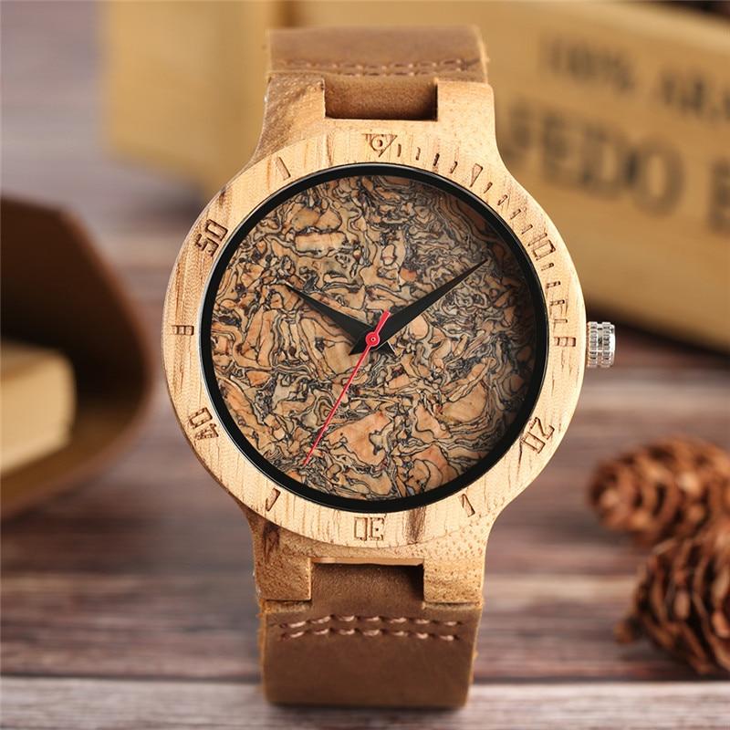 Wooden Watch Men's Unique Cork Slag/Broken Leaves Face Dial Clock Wood Quartz Clock Male Women Genuine Leather Band Wristwatches