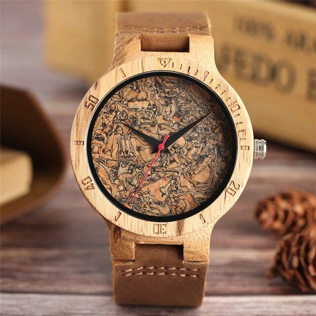 עץ שעון גברים של ייחודי פקק סיגים/שבור עלים פנים חיוג שעון עץ קוורץ שעון זכר נשים אמיתי עור להקת שעוני יד