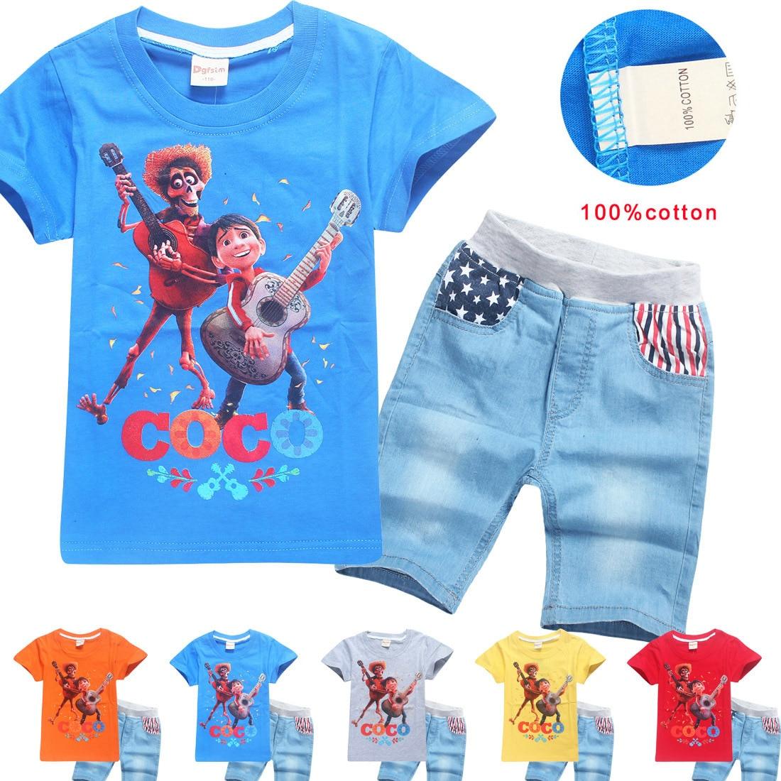 Children's Clothes 2018 New Summer Cartoon Coco T Shirts + Pants 2pcs Kids Boys Girls Top Tees Child T-shirts Boys Clothing Set music hall new 6h3n vacuum tube preamplifier hifi buffer pre amp matisse circuit