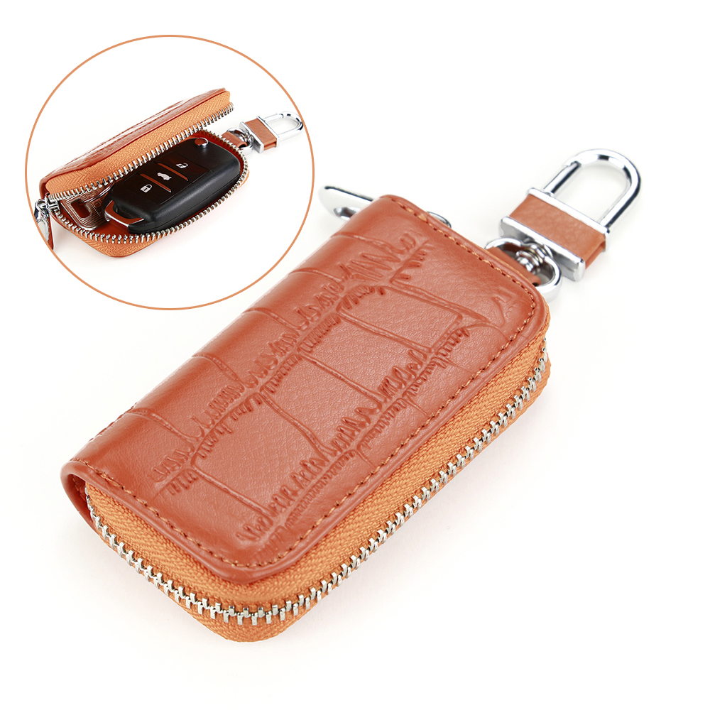 Creative Orange Car Key Bag Top Grade Zipper Key Case Crocodile Pattern Leather Key Wallet Multifunction Hook Key Holder