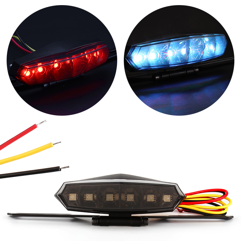 3W LED Motorcycle Tail Brake Lights Stop Driving License Plate Lamps For Motorcycle Rear Motorbike Taillight Moto Styling