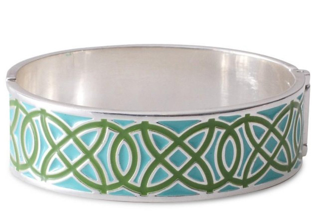 European fashion jewelry S-D-J green+blue enameled cuff bracelet -Free Shipping