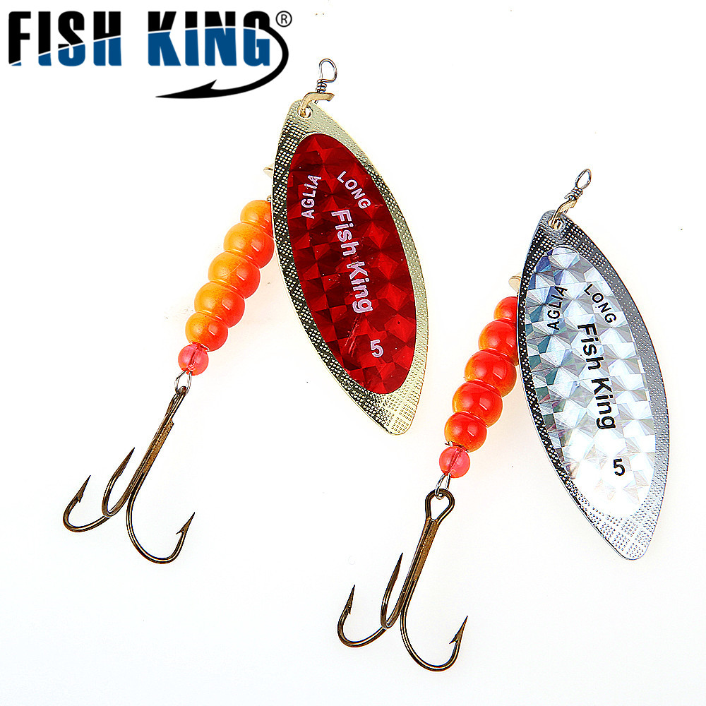 FISH KING Brand 1PC 1# 2# 3# 4# 5# Willow shaped Mepps Spinner Bait Fishing Lure Bass Hard Baits Spoon With Treble Hook Tackle mikado willow 2 5 г медь
