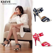 Kaeve Prom Pumps Schoenen Vrouw Hakken Zwart Summer High Heels Ladies Black Strappy Letter Sandals Pointy Buckle Stiletto Shoes