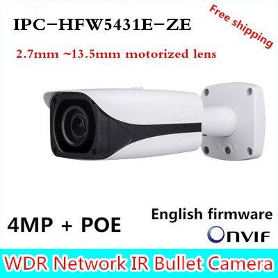Original Brand IPC-HFW5431E-ZE CCTV IPC 4MP POE HD 2.7mm ~13.5mm motorized lens WDR Network IR Bullet Camera IPC-HFW5421E-Z free shipping dahua cctv camera 4k 8mp wdr ir mini bullet network camera ip67 with poe without logo ipc hfw4831e se