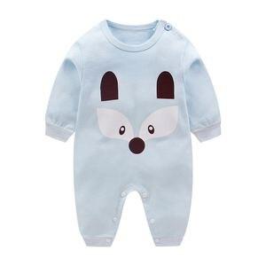 Image 5 - Mono de manga larga 100% algodón para Primavera, pijama de bebé, niño y niña, peleles de bebé, suave, 3 unidades/lote, 2019