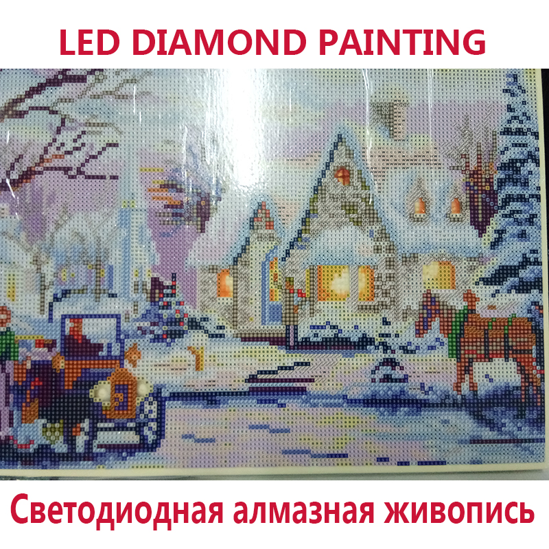LED Light Full Round Drill 5D DIY Diamond Painting Winter snow scene 3D Embroidery Cross Stitch