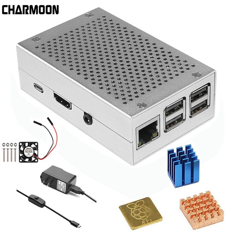 Caja de aluminio de plata de Metal + 5 V/3,3 V ventilador de refrigeración con tornillos + disipador de calor Kit de carcasa raspberry Pi 3 Modelo B, modelo B +