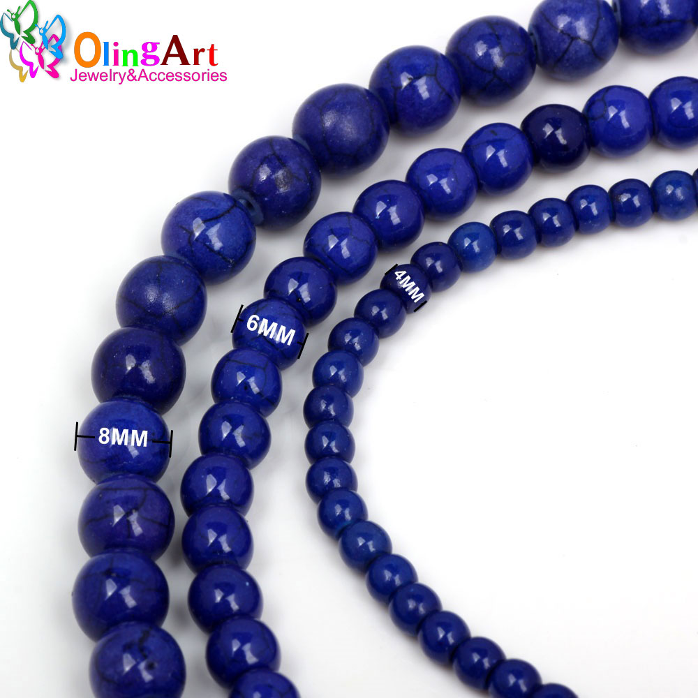 OlingArt 4mm/6mm/8mm Synthetic Stone beads Round Dark blue Turquoises Light Color Howlite Fashion beads for jewelry making NEW