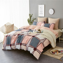Nordic simple bedding supplies black and white pink striped plaid three-piece quilted extra large textile bedroom duvet cover lizzie timewarp notebook pink and white striped