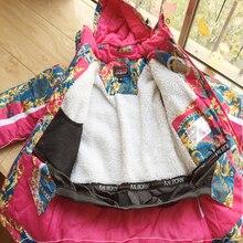 10 years Girls Ski Suits Brand Kids Ski Suit 2pcs Floral Print Fleece Lining Waterproof Jackets + Overalls Children Snowsuit