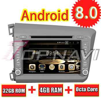 TOPNAVI 8'' Octa Core Android 8.0 Car GPS Navigation for CIVIC 2012- For Honda Autoradio Multimedia Audio Stereo 4GB RAM 32G ROM image