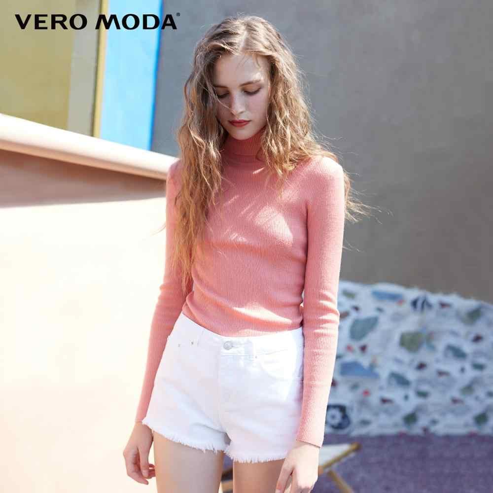 Vero Moda סתיו 100% צמר Slim Fit סרוג בסיס גולף סרוג סוודר נשים | 318324522