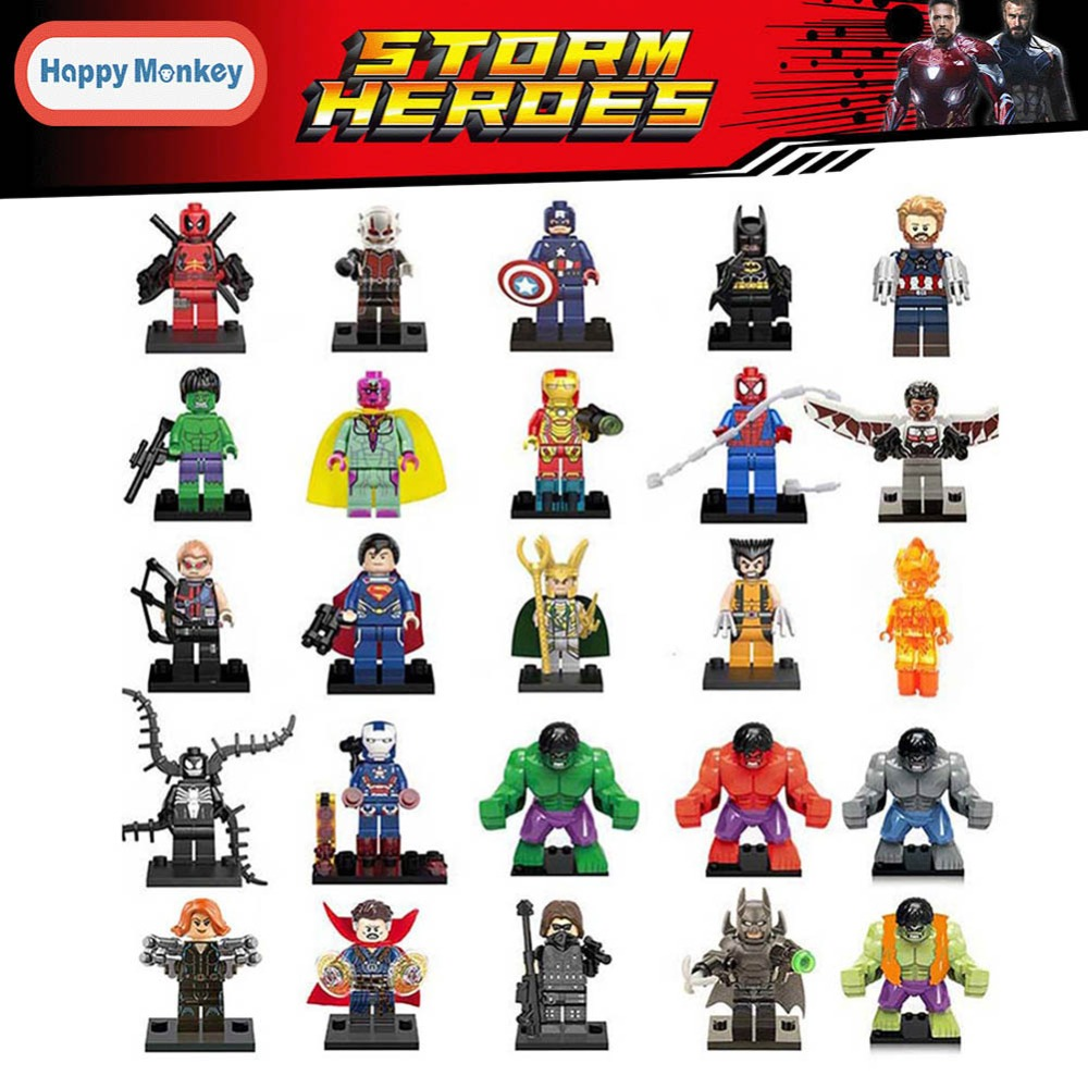 For legoing Marvel Super Heroes Avengers 3 Thanos Falcon Spider-Man Superman Batman Vision Building Blocks Toys Figures FJ35 legoelied star wars super heros marvel dc minifigures darth revan yoda deadpool batman v superman figures building blocks toys
