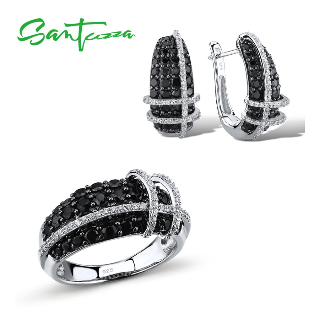 SANTUZZA Jewelry Sets For Women Sparkling Black Spinels White CZ Stones Ring Earrings Set 925 Sterling
