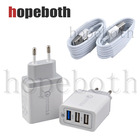 Wall Charger Quick Charge 3.0 Dual USB Fast Charger Adapter Qualcomm Qc 3.0 EU Plug Travel For Samsung Mobile Phone With Cable