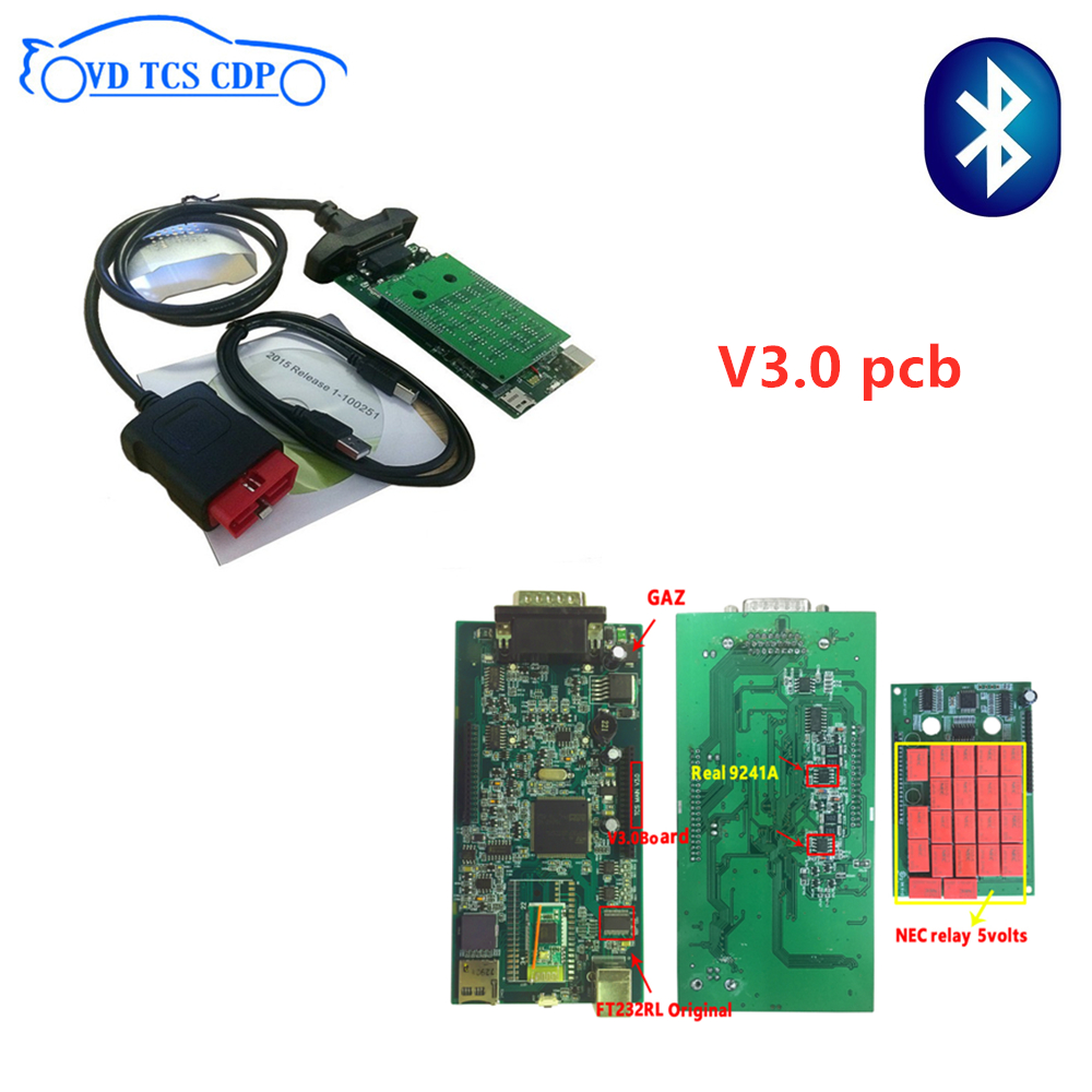VD TCS CDP 2016R0 keygen avec bluetooth 3.0 pcb 9241 puce obd Scan vd ds150e cdp pour delphis obd2 outil de diagnostic + 8pc câble de voiture