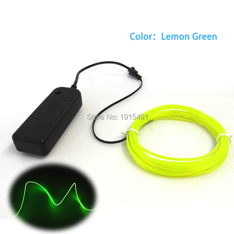 Colorful 2M Lime Green EL Wire Tube Rope Powered by Battery Waterproof 2.3mm Neon Led Strip Light for Home Atmosphere Lamp Decor