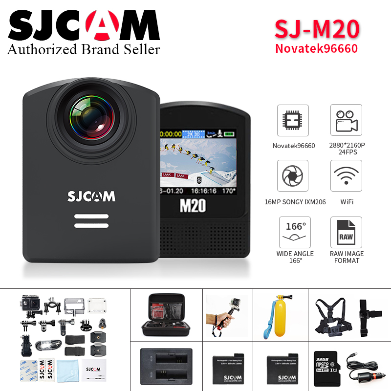 SJCAM M20 Wifi Gyro Sport Action Camera HD 2K 16MP Bluetooth watch self timer lever remote control sport video sj helmet cam DVR new original hubsan x4 h107d 2 4ghz 4ch 6 axis gyro 5 8g rtf rc fpv quadcopter professional drone with 720p hd camera