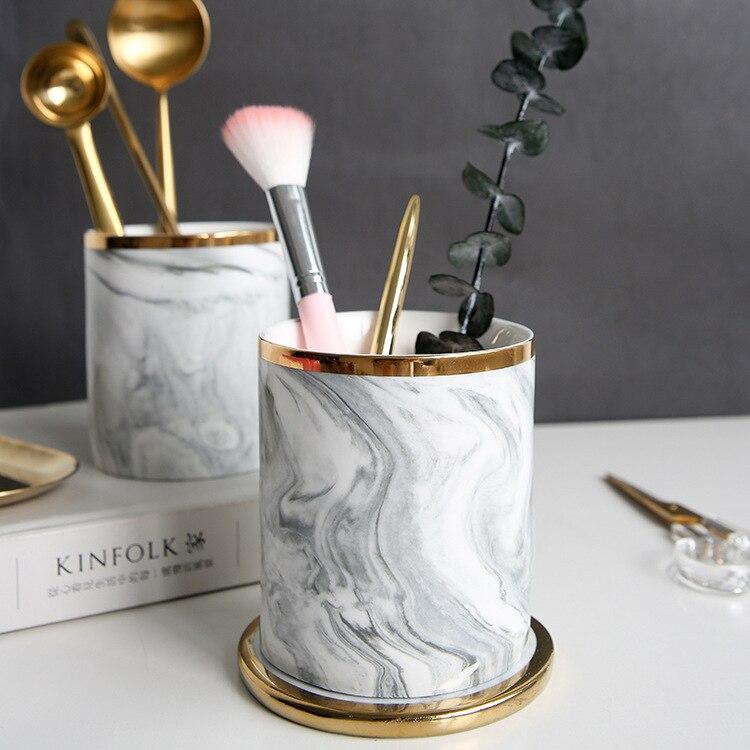 Nordic Home Decoration Ceramic Marble Storage Bin Gold Makeup Brush Storage Tube Gold Pen Holder Vase