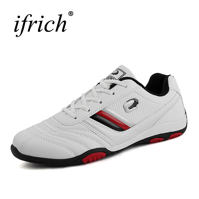 Ifrich Spring/Autumn Athletic Shoes For Walking Training Sneakers Black White Athletic Sport Shoes Leather Mens Trainers Brand