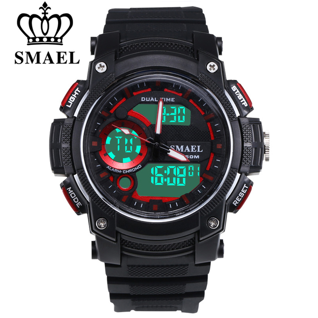 SMAEL 50M Waterproof Time Zone Quartz PU Strap Clock Watch Men Date Display Clock Gift Watches Student Sports Digital Watch