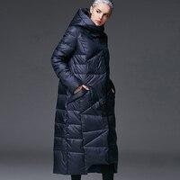 2017 Nuove Donne di Inverno Piumini Femminili Extra Lungo Incappucciato Giù cappotto di Alta Qualità Spessore Caldo Piume D'anatra Bianca Parka/UV1289