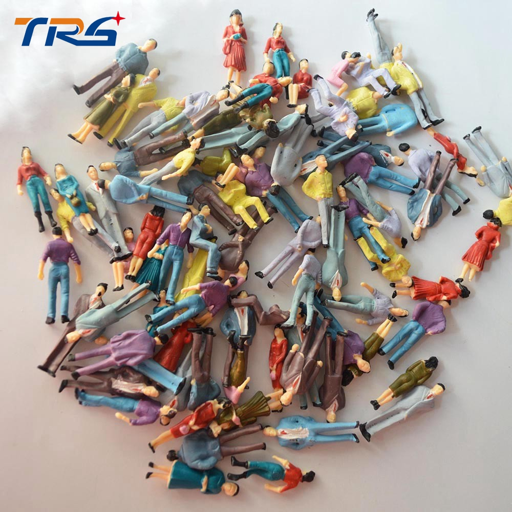100pcs 1 50 scale train building people Painted Model Train Passenger People Figures for Model Building Layout in Model Building Kits from Toys Hobbies