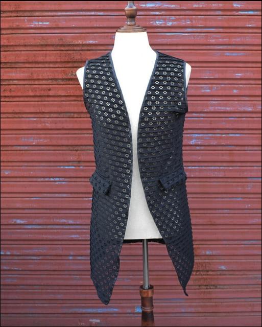 Summer new men's clothing vest nightclub hairdresser long section suit vest sleeveless black tide men Costumes Outerwear