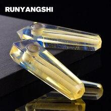 Runyangshi Man-made Crystal Smoking Pipe Strainer Quartz Stone 1Pc Yellow Melting Smoke Pipe High Quality YH15