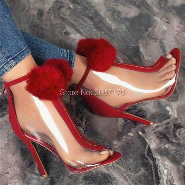 6493f40300e5 Fashion Suede Panel Clear PVC Booties Pom Pom Jelly Shoes Woman Plexi  Transparent Heels Peep Toe High Heels Ankle Boots Summer
