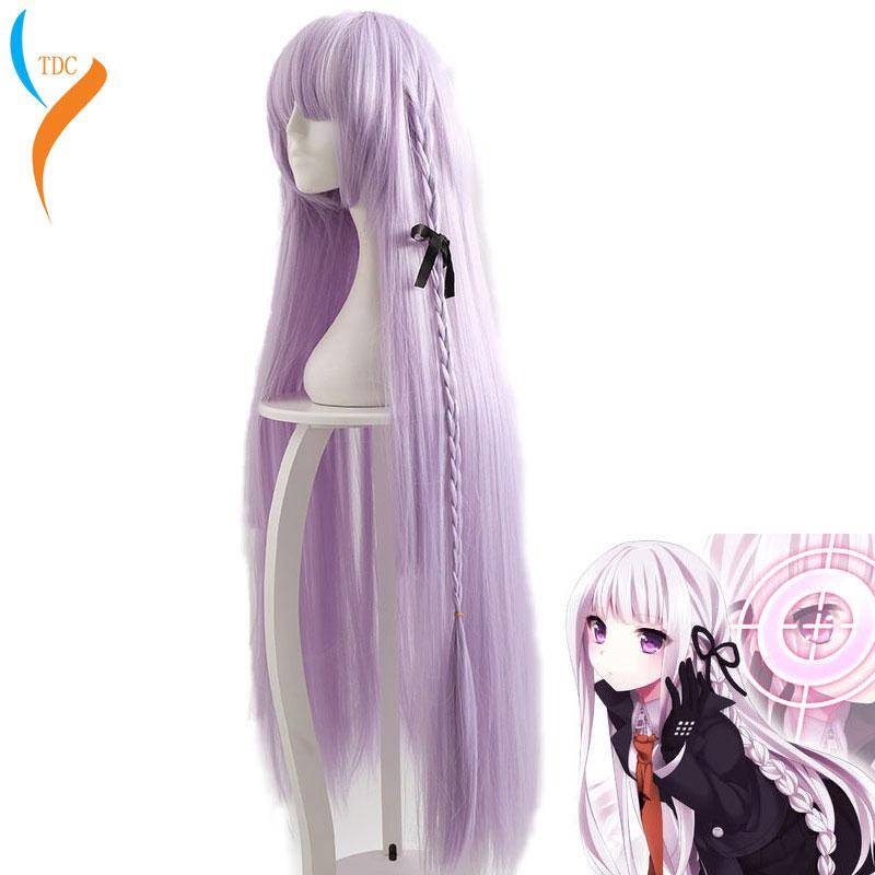 US $27 3 35% OFF Game Danganronpa: Trigger Happy Havoc Wig Kirigiri Kyouko  Cosplay Wig Role Play Anime cosplay purple 100CM length Wig on