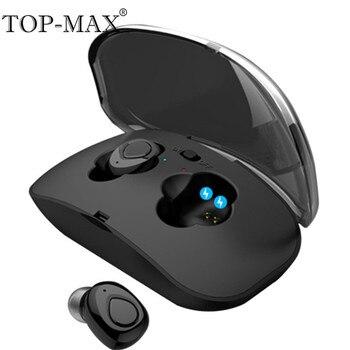 TOP-MAX мини СПЦ наушники True Беспроводной Bluetooth наушники с микрофоном Stereo Handfree Спорт Bluetooth гарнитура с загрузочной коробки