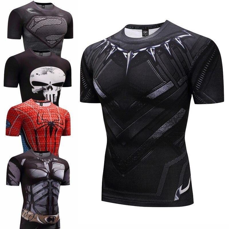 Camisa De Compressão de Fitness Musculação Homens pantera negra Anime Rashgarda rashguard MMA 3D Superman Camisa Punisher T Crossfit