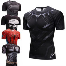Camiseta de compresión de culturismo Fitness Pantera Negra hombre Anime Rashgarda rashguard MMA 3D Superman Punisher camiseta Crossfit(China)