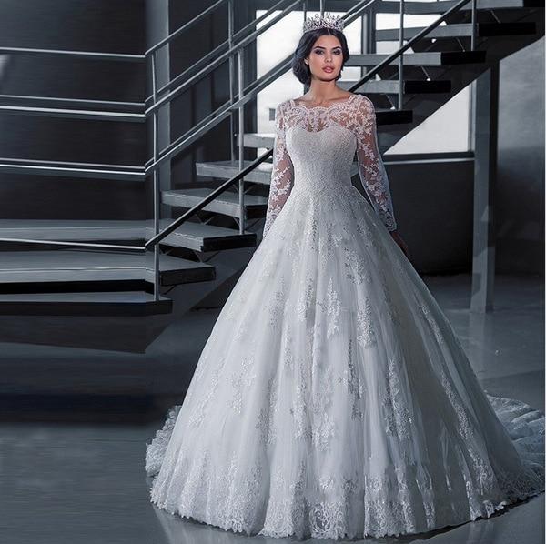 2018  Boat Neck Cheap Robe de Mariage Cheap Wedding Dresses With Long Sleev Women Ball Gown Wedding Dress Vestido de Noiva Lace