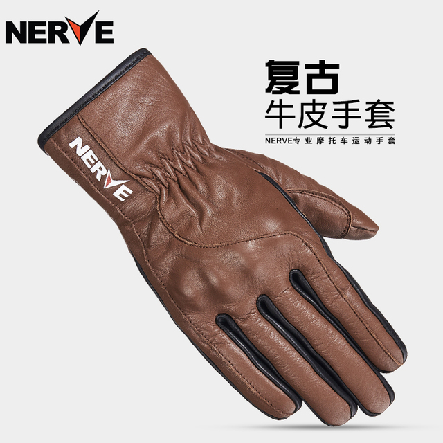 0327aff8cad3f NERVE Leather gloves Motorcycle Riding Protection Equipment moto Retro Motorcycle  Gloves Touch screen KQ1030