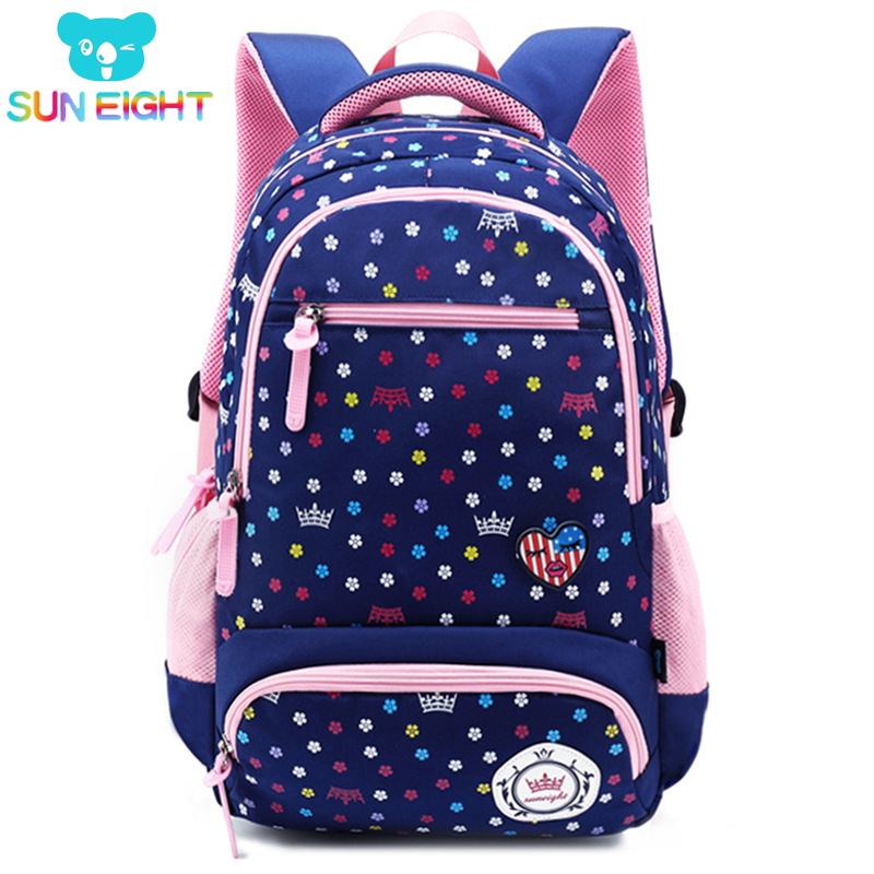 SUN EIGHT Big Capacity New Daisy Printing Girl School Bag Kid Backpack Zipper Backpacks  School Bags For Teenagers Girls(China)