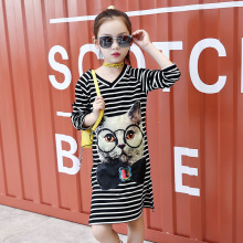 Girls dress striped long-sleeved cotton cartoon V-neck bottoming shirt in the long section 2019 spring autumn children clothing