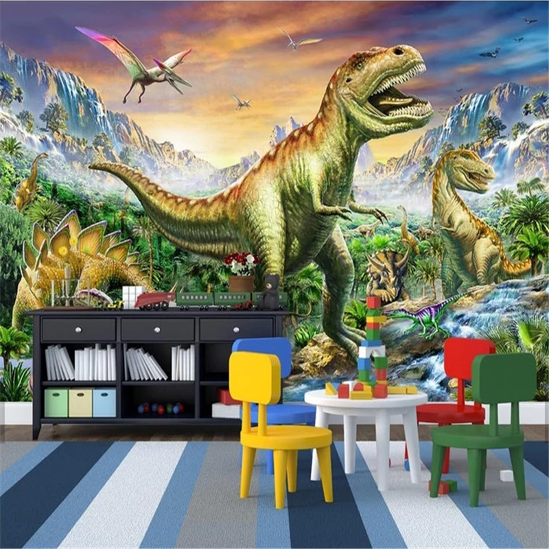 Custom 3D Non-Woven Colorful Forest Tyrannosaurus Jurassic Dinosaur World 3D Photo Wallpaper Children's RoomBackground Mural