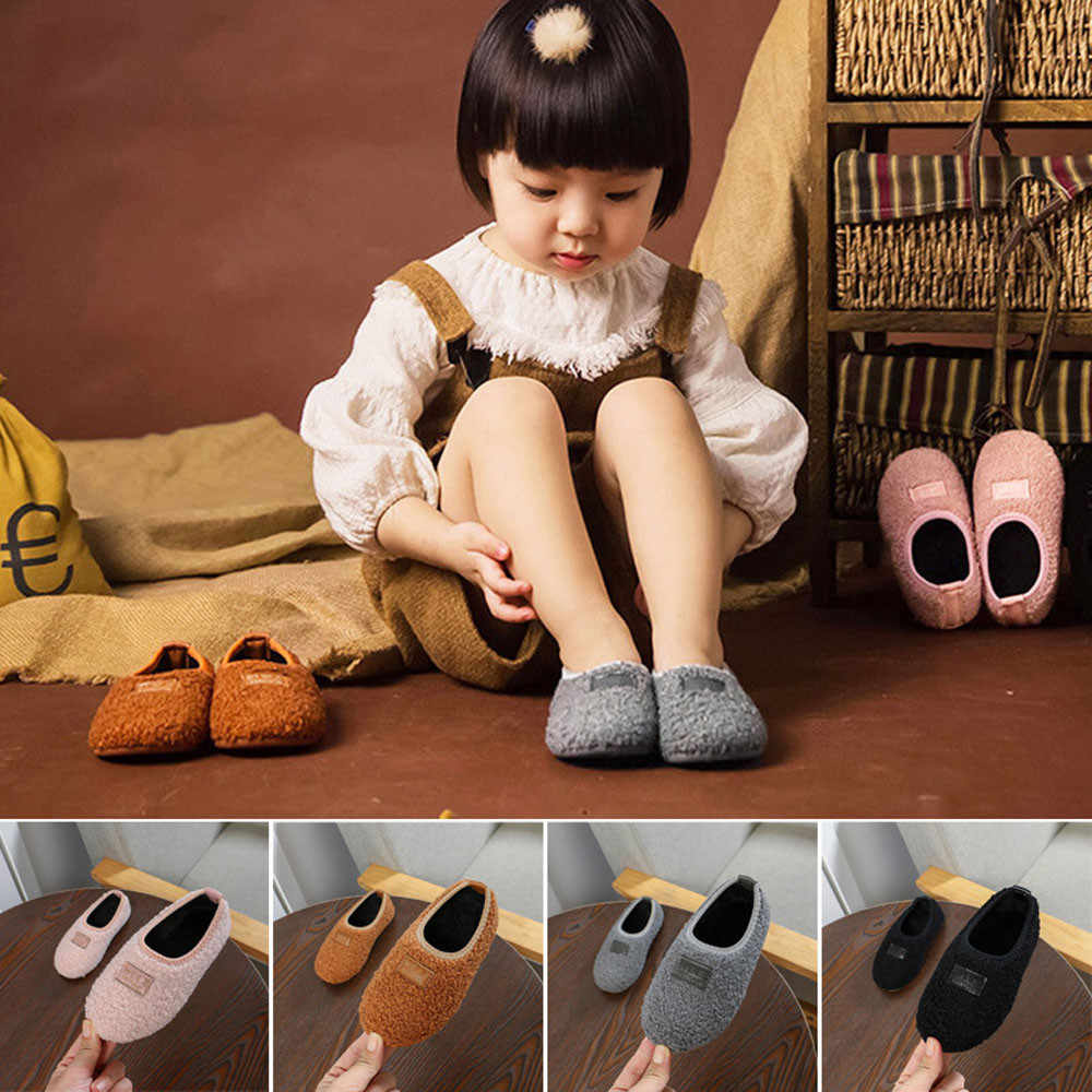 Toddler Baby Girls Snow Boots Shoes Newborn Baby Autumn Winter Cotton Warm Soft Sole Plush Prewalker Winter Slip On Fluffy Boot