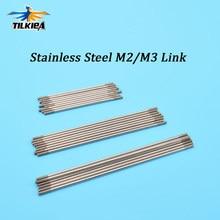 5 peças m2/m3 * l150/200/250/300mm ligação haste de conexão de aço inoxidável com rosca de extremidade dupla para servos, ligação de extremidade da haste & material diy