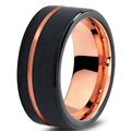 Tungsten Wedding Band Ring 8mm for Men Women Black & Rose Gold Plated Pipe Cut Brushed Polish Size 8.5 9 9.5 10