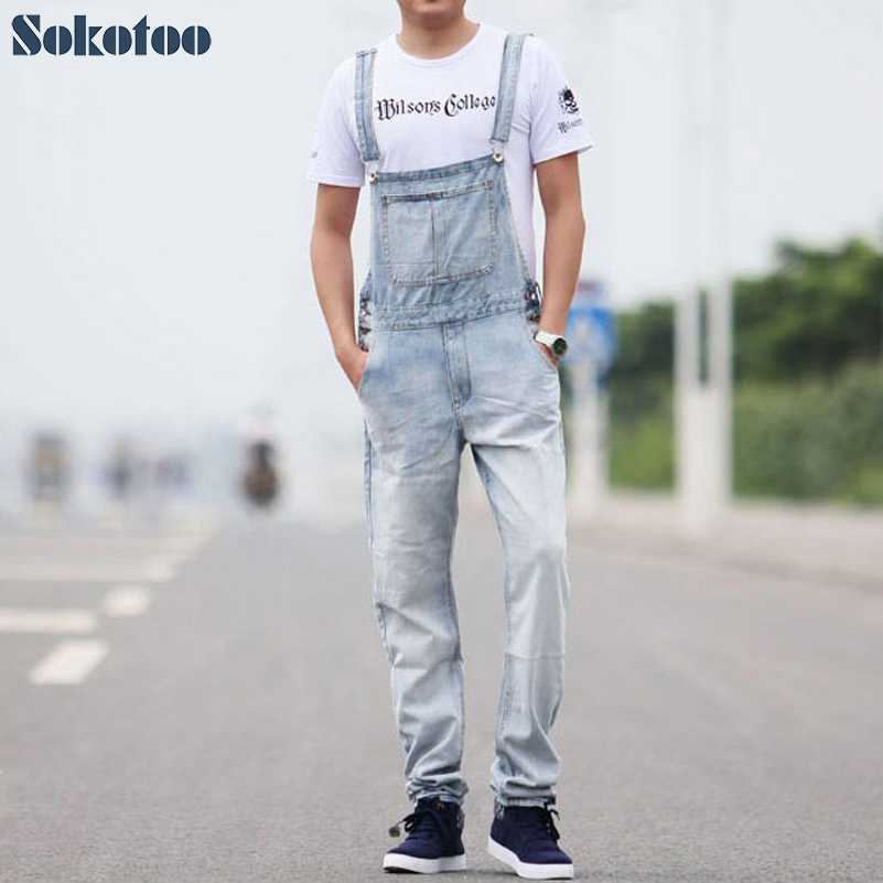 Sokotoo Men's casual overalls Thin denim jumpsuits Plus size loose vintage blue white   jeans