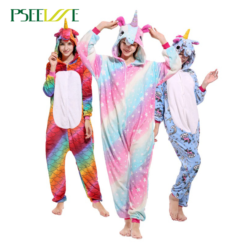 PSEEWE Anime   Pajama     Sets   Onesie Flannel Winter Women Men pyjamas Animal Stitch Totoro Adult Sleepwear Cosplay Unicorn Costume