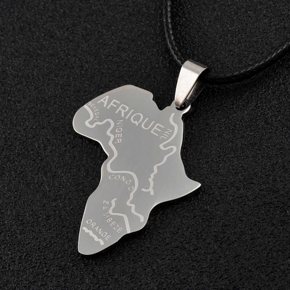 Anniyo afryka mapa wisiorek łańcuch liny (oryginał ze stali nierdzewnej) Hip Hop Afrique biżuteria mapa afryki dla kobiet Man # 003721B