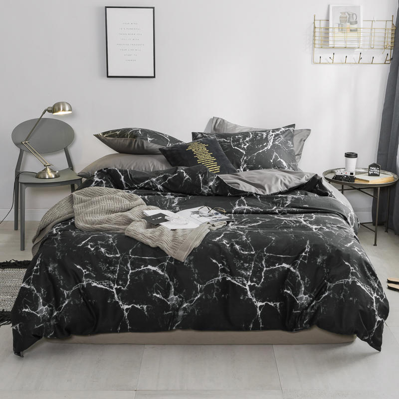 White Black Grey Nordic Bedding Set TWIN QUEEN KING size 100 Cotton Bed sheet set Flat