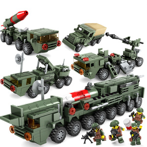 Children Educational Toys 4 In 1 Military Chariot Missile Car Model Kit DIY Assembled Building Blocks Boy Toy Gift Legoings E23