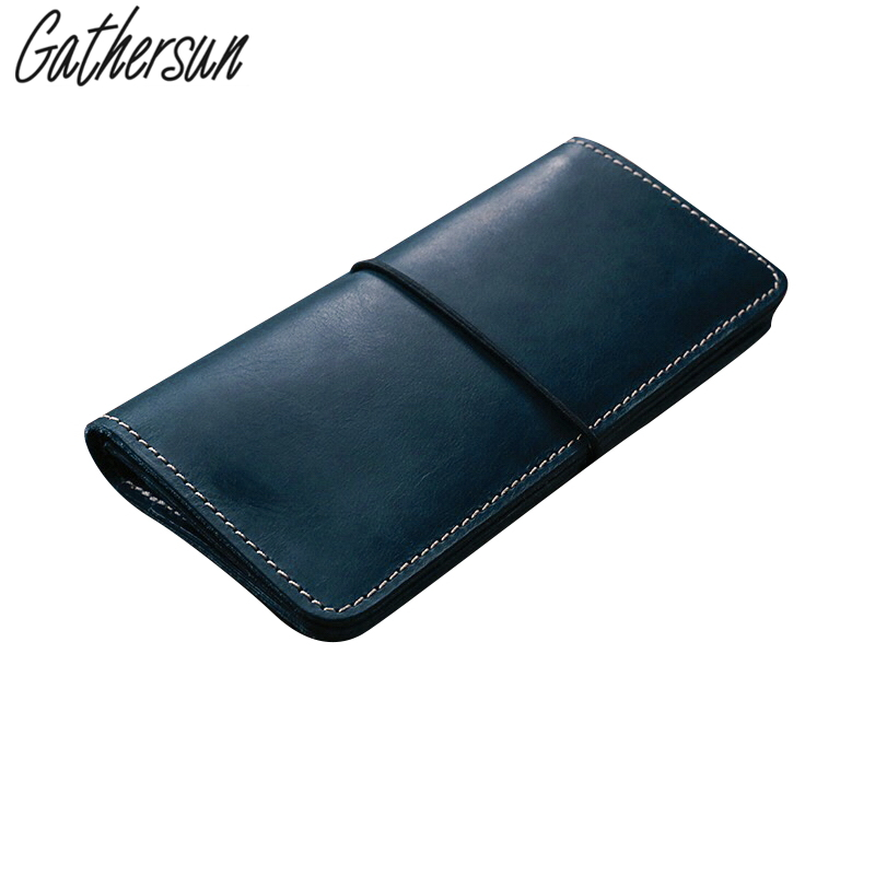 Gathersun Brand Handmade Unisex wallet Vintage Designer High Quality 100% Genuine Cowhide Leather women's Long Clutch Wallet