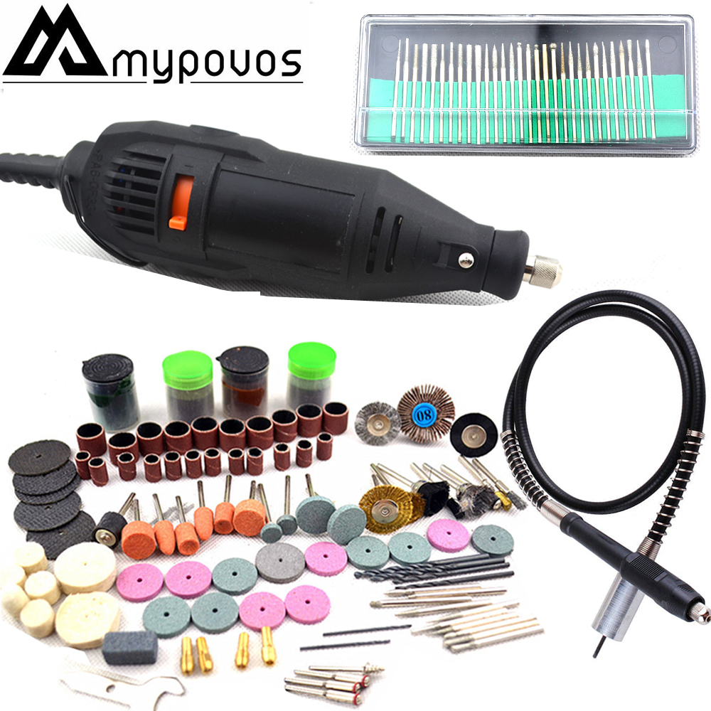 MYPOVOS 220V Power Tools Electric Mini Drill with Flex shaft 191pcs Rotary Tools Accessories For <font><b>Dremel</b></font> Drill Tools 3000 <font><b>4000</b></font> image